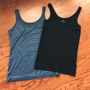2 tanks - Blue sparkle and black